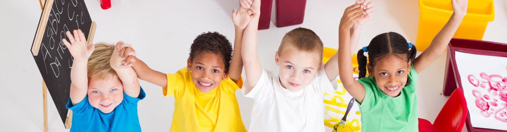 young preschool children in classroom
